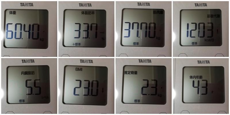 体重・体脂肪などの変化